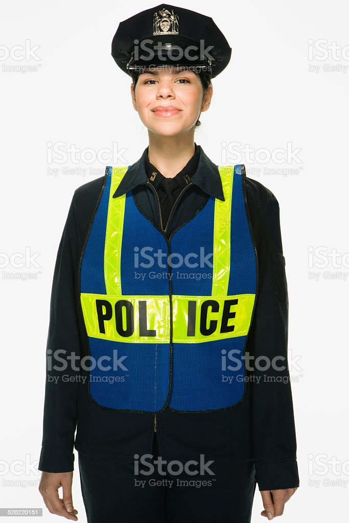 Traffic police officer on white background, portrait stock photo