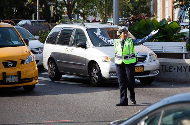 Traffic policewoman in New York City stock photo