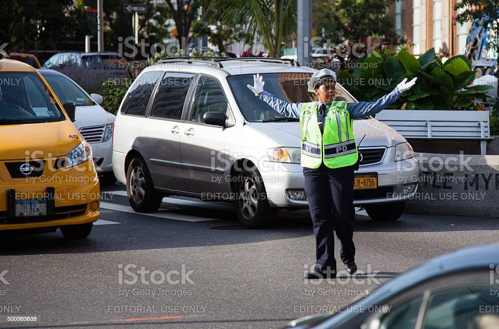 Traffic policewoman in New York City stock photo