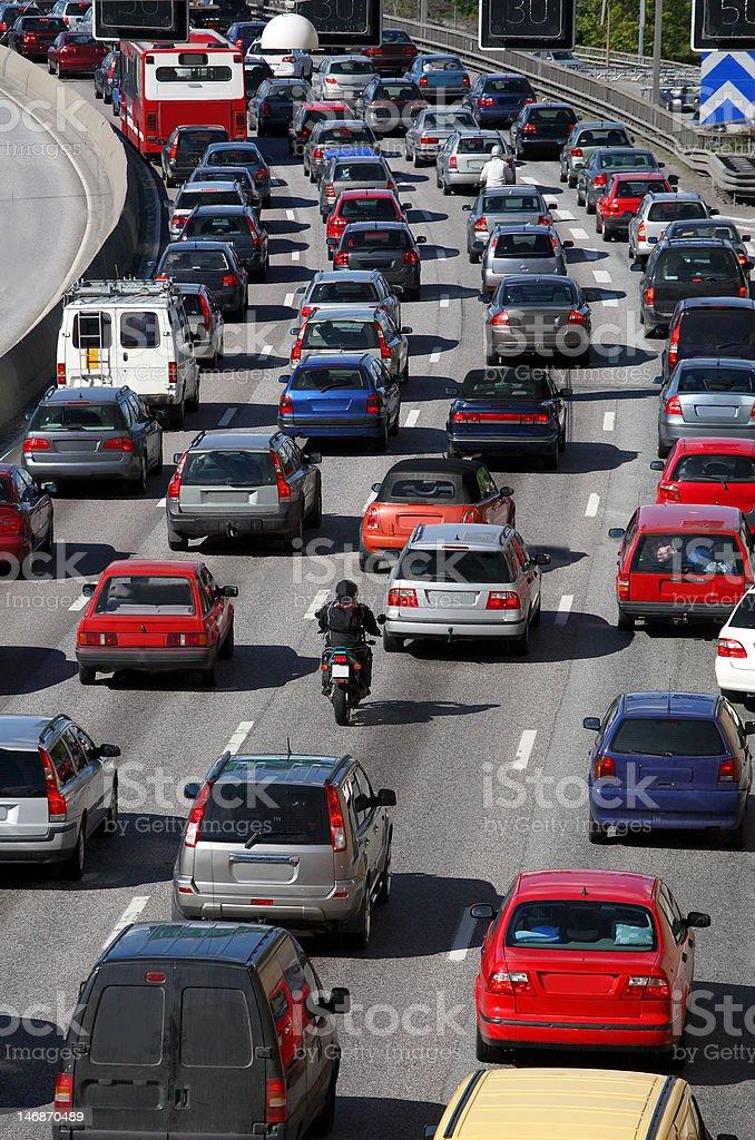 Traffic queue stock photo