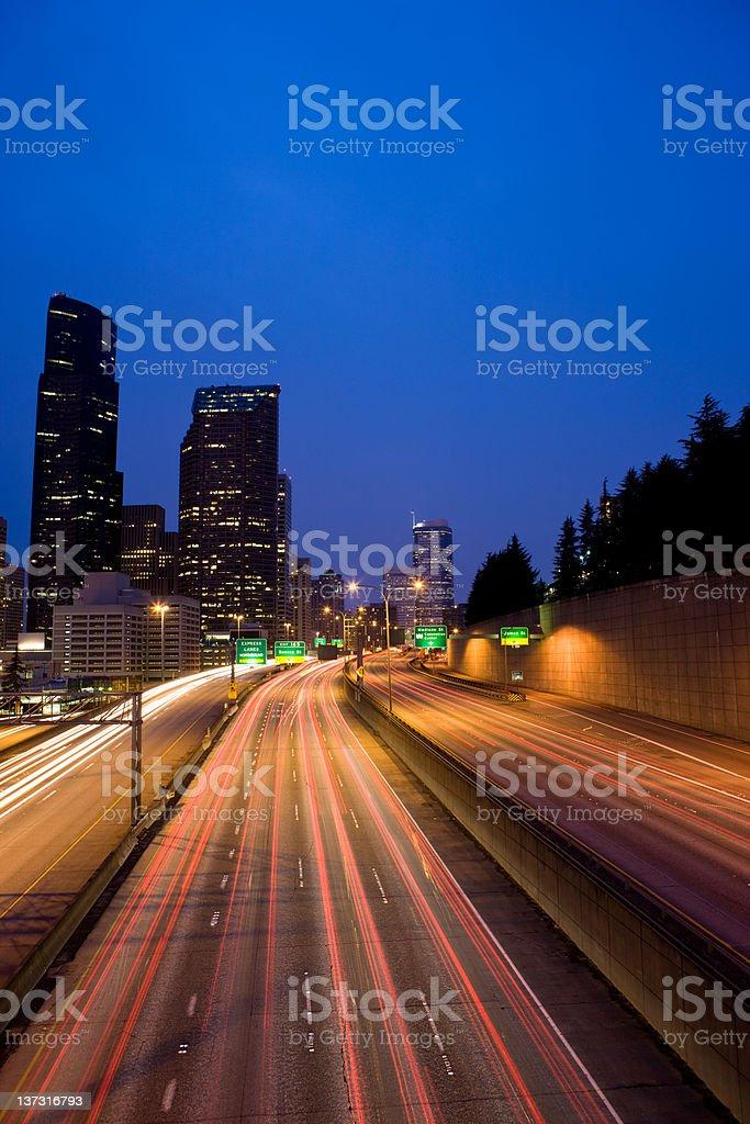Traffic Racing Along Interstate 5 royalty-free stock photo