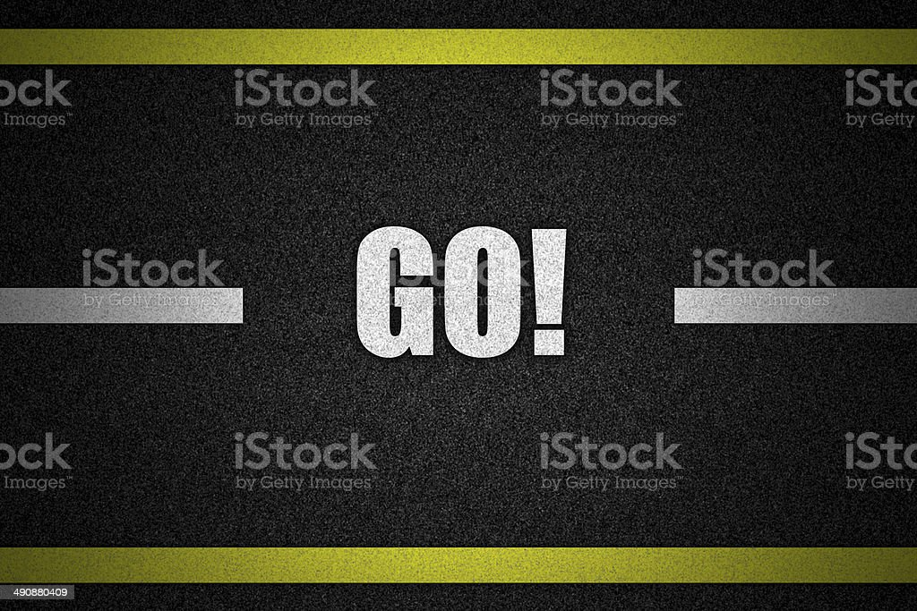Traffic  road surface with text GO stock photo