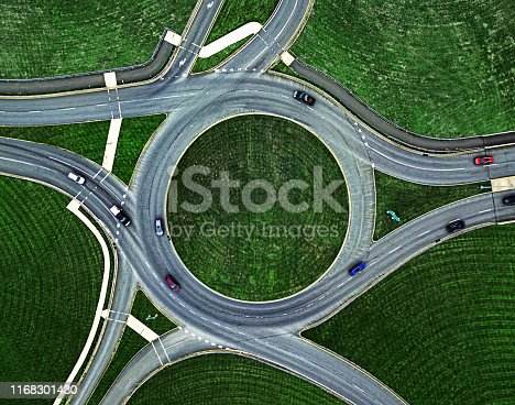 Aerial view of a traffic roundabout.