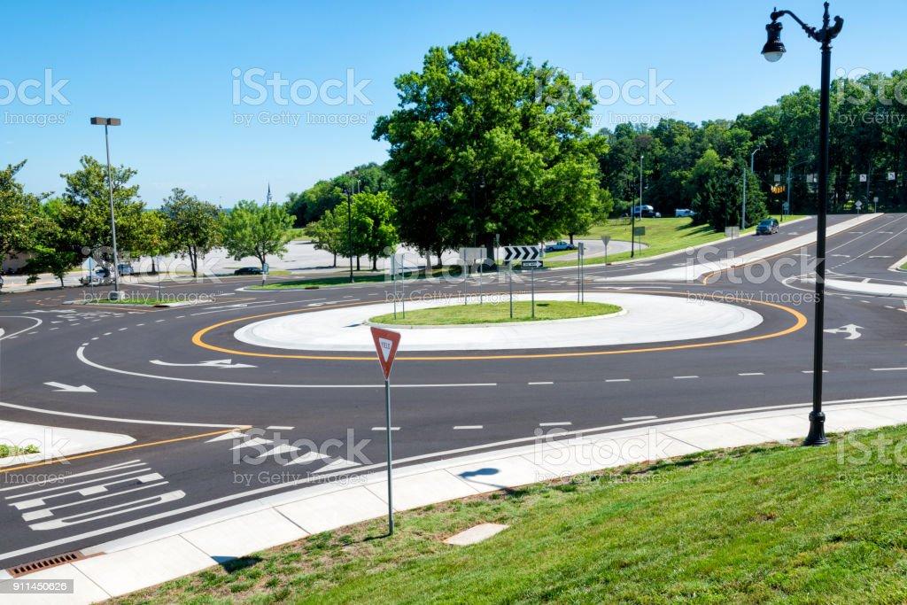 Traffic Roundabout Intersection stock photo