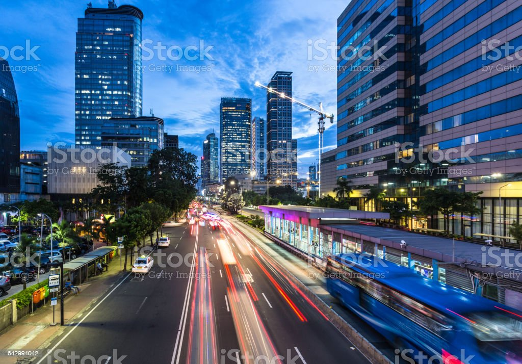 Traffic rushes in Jakarta business in Indonesia capital city stock photo