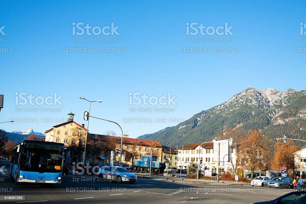 Traffic scene in Garmisch-Partenkirchen stock photo