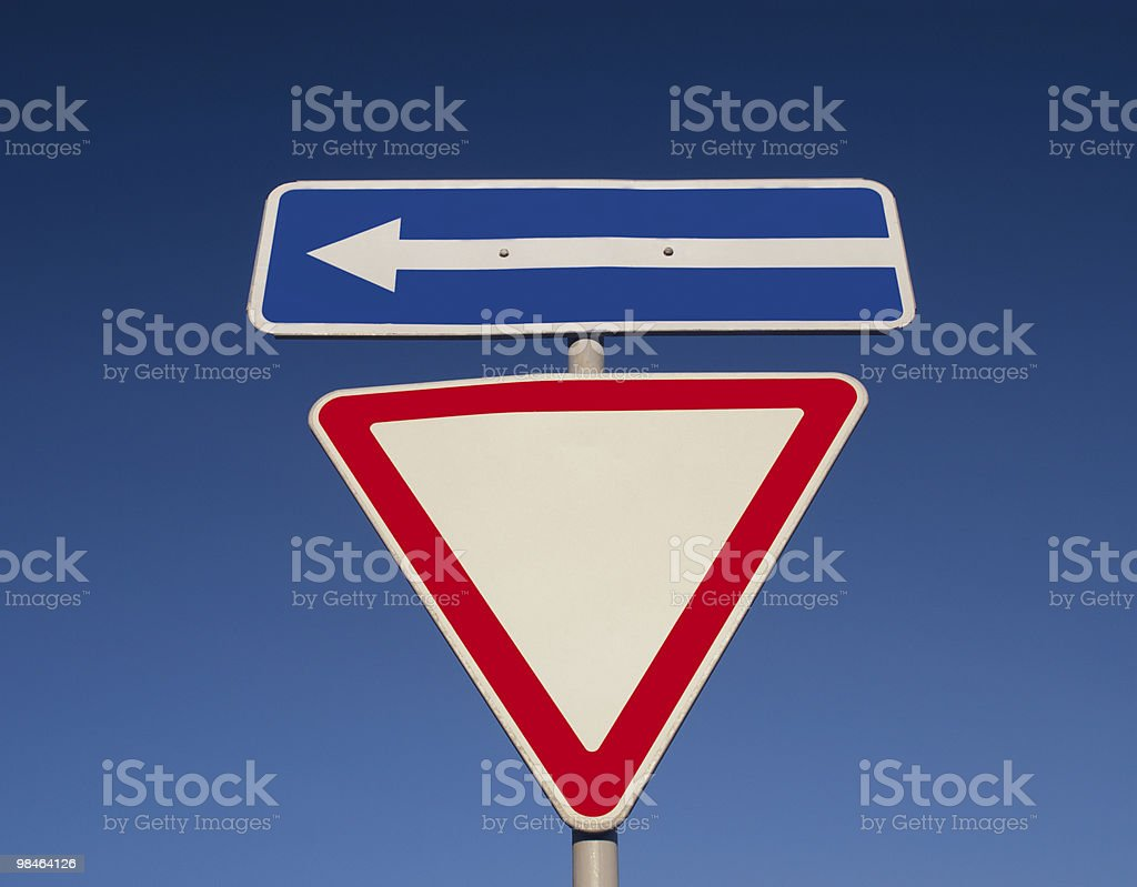 Traffic sign against the blue sky royalty-free stock photo