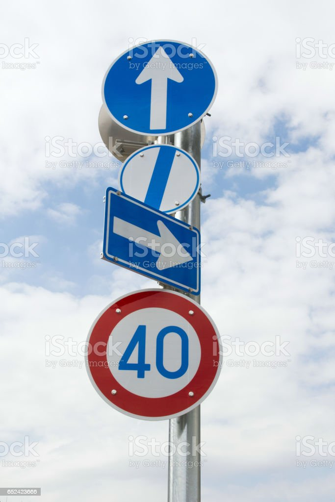 交通標識、矢印 ストックフォト