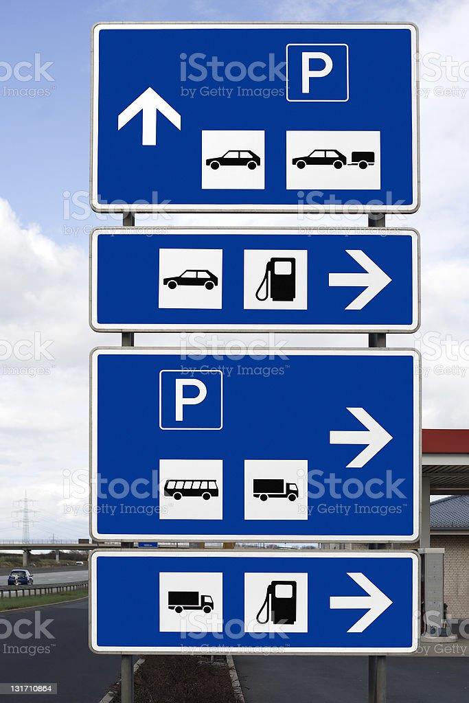 Traffic sign at petrol station stock photo