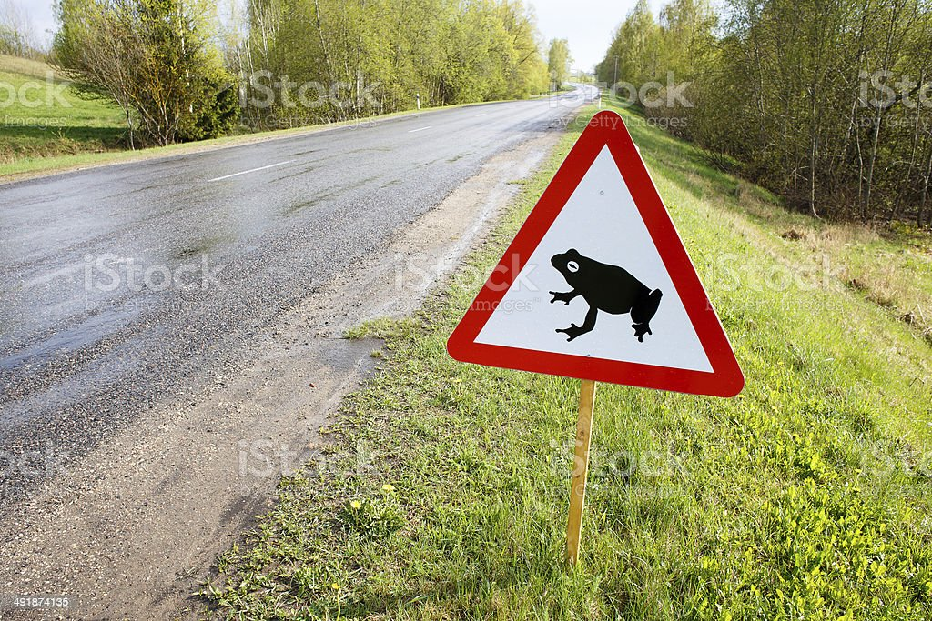 Traffic sign attents for frog migration on road stock photo
