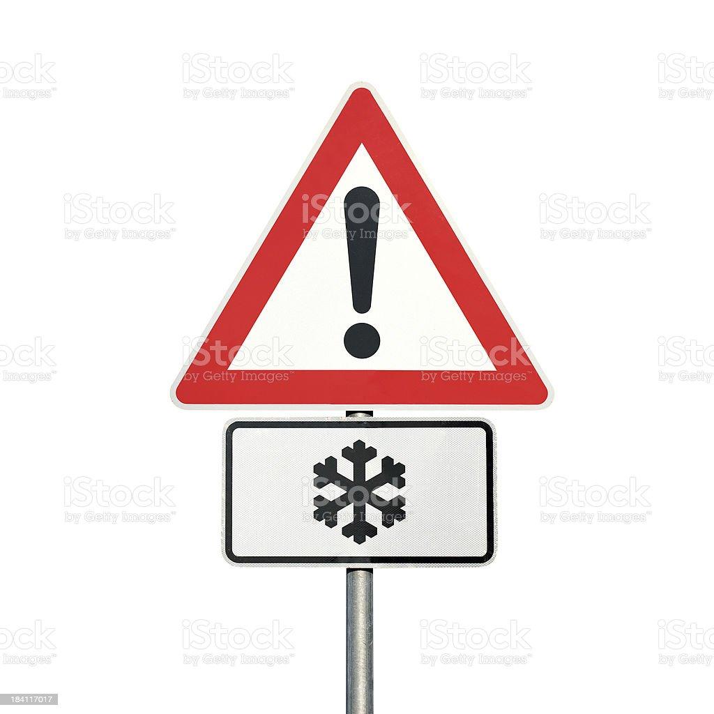 Traffic sign-Vorsicht, Schnee und Eis Voraus – Foto