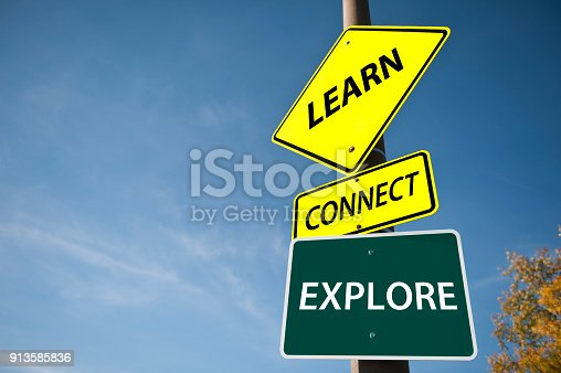 istock LEARN, CONNCET, EXPLORE / Traffic sign concept (Click for more) 913585836