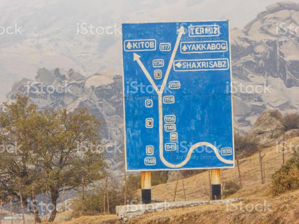 traffic sign in Kirgisistan stock photo