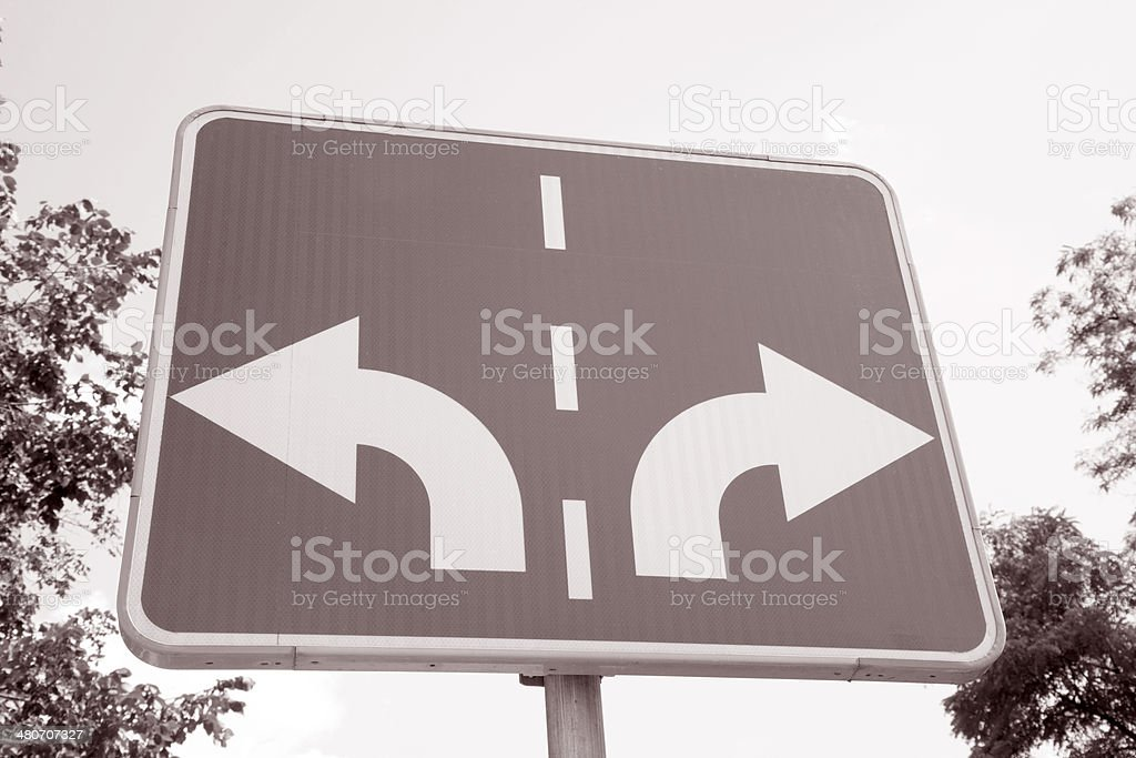 Traffic Sign with Two Arrows Pointing in Different Directions