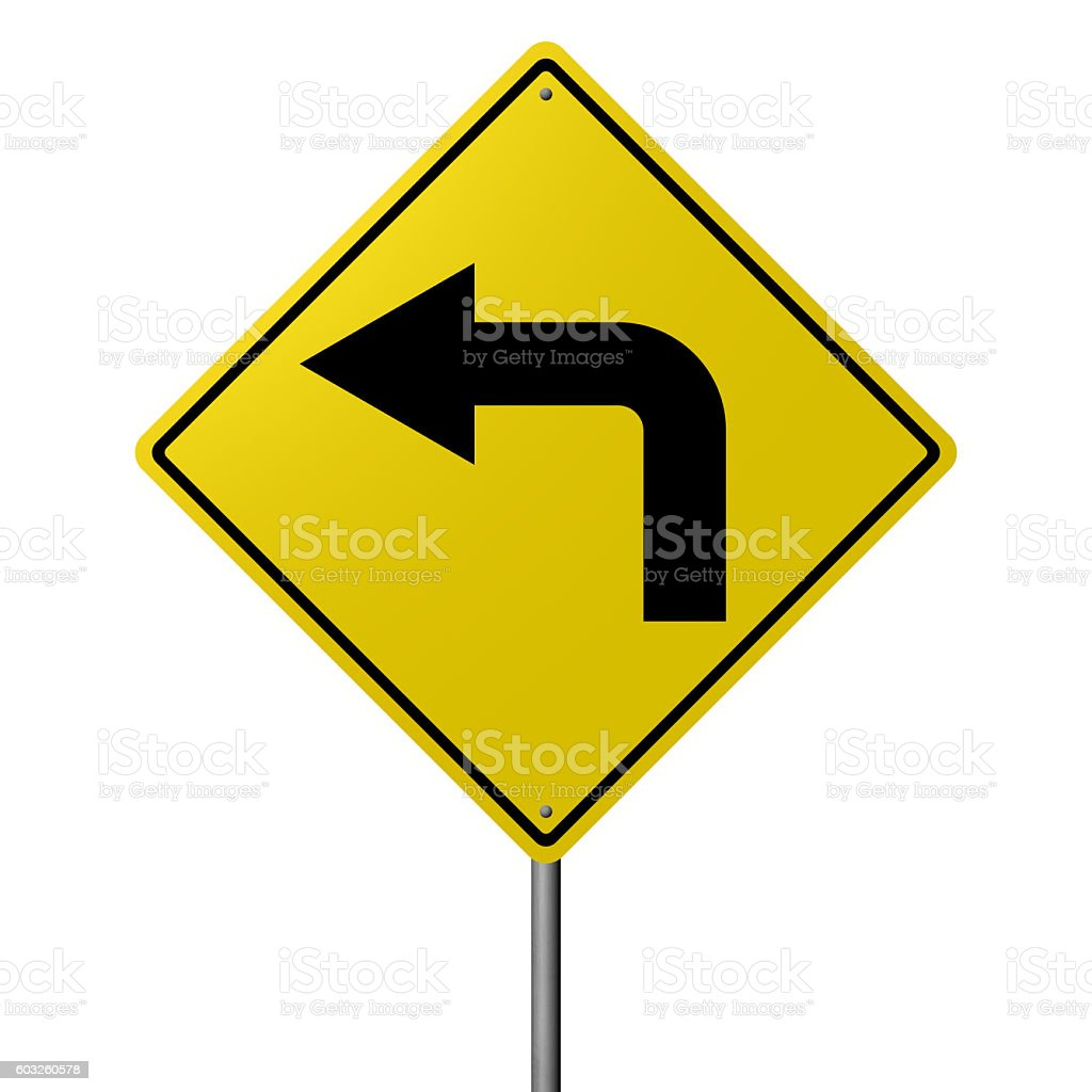 Traffic sign - Left Turn stock photo