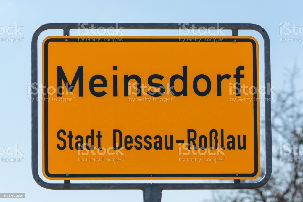 Traffic sign of the town of Meinsdorf stock photo