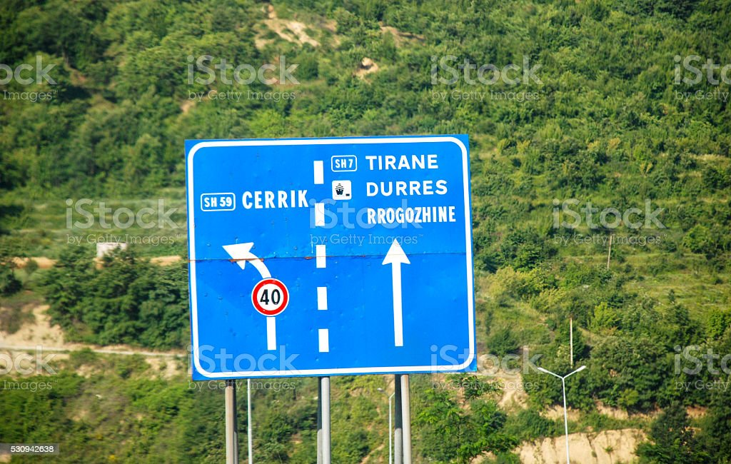 traffic sign on  albanian road stock photo