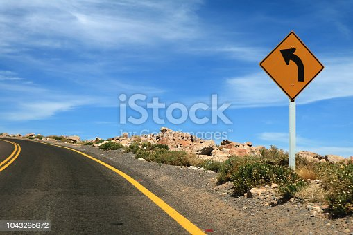 Traffic Sign on the Road to the Altiplanic Lagoons of Atacama Desert, Northern Chile, South America
