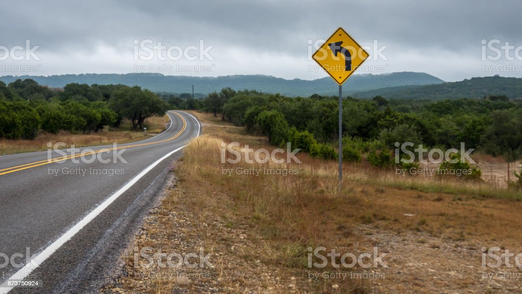 Traffic Sign On the Side of Road in the Hill Country stock photo
