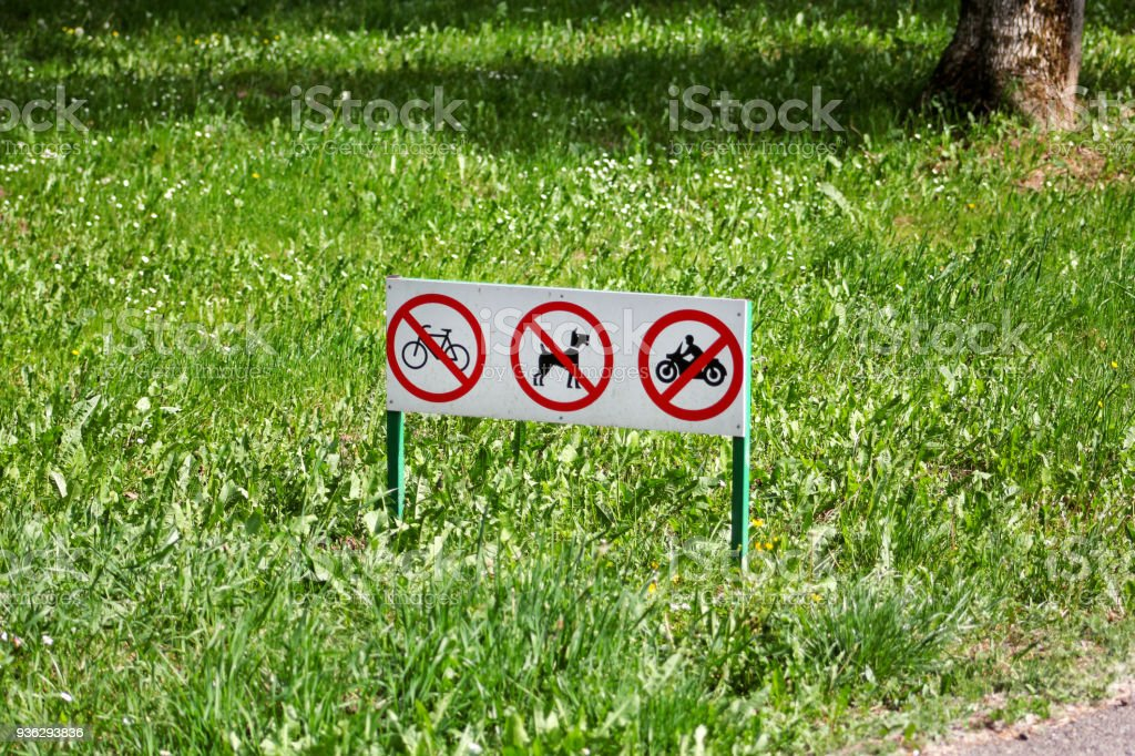 Traffic Sign Signs Or Symbol Of No Pet Dogs Waste Bike And