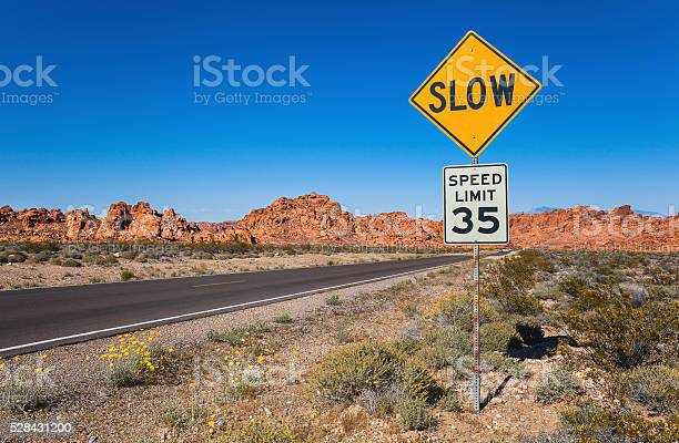 Traffic Sign Slow Southern Nevada Stock Photo - Download Image Now