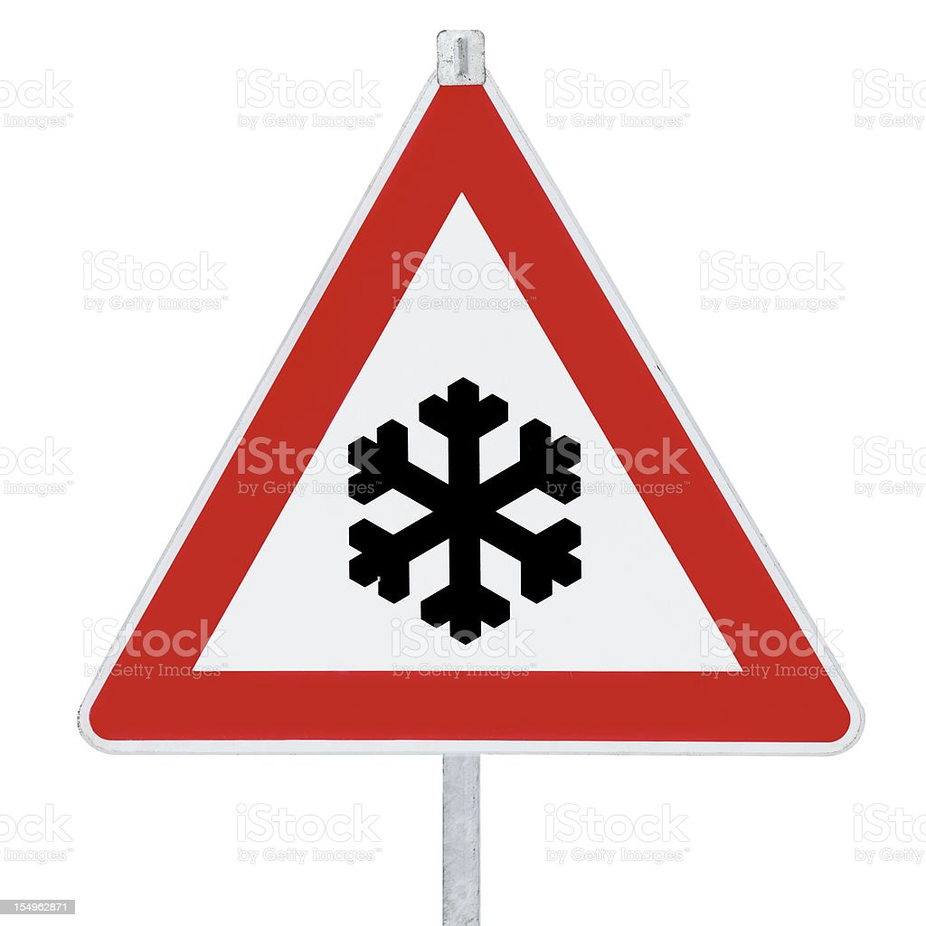 Traffic sign - Snow ahead royalty-free stock photo