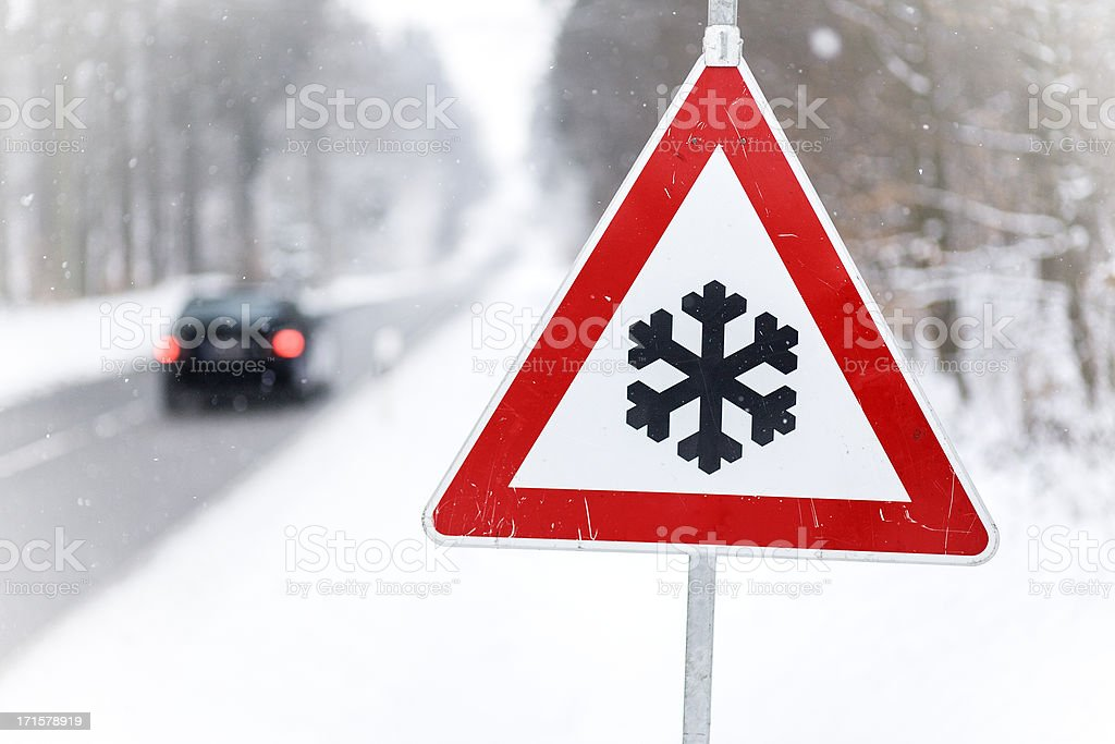 Traffic sign - Snow ahead stock photo