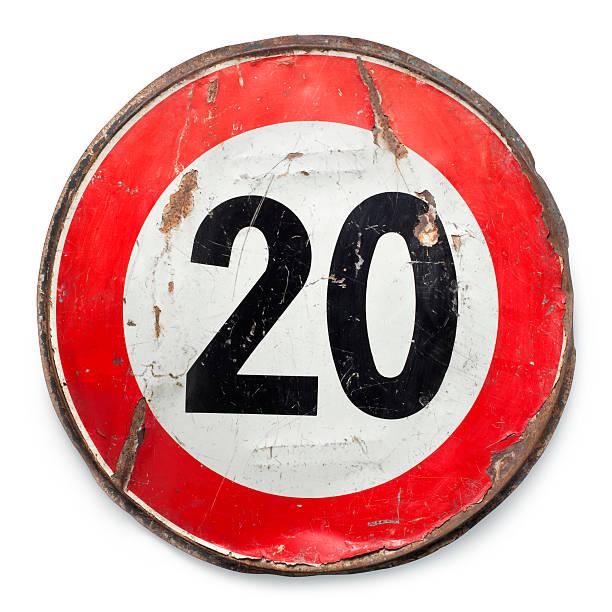di traffico. limite di velocità 20 km/h. - cartello stradale italia km foto e immagini stock