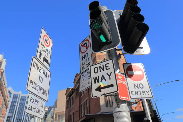 Traffic sign Sydney Australia stock photo