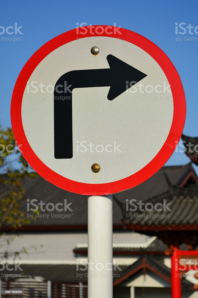 Traffic sign turn right. stock photo