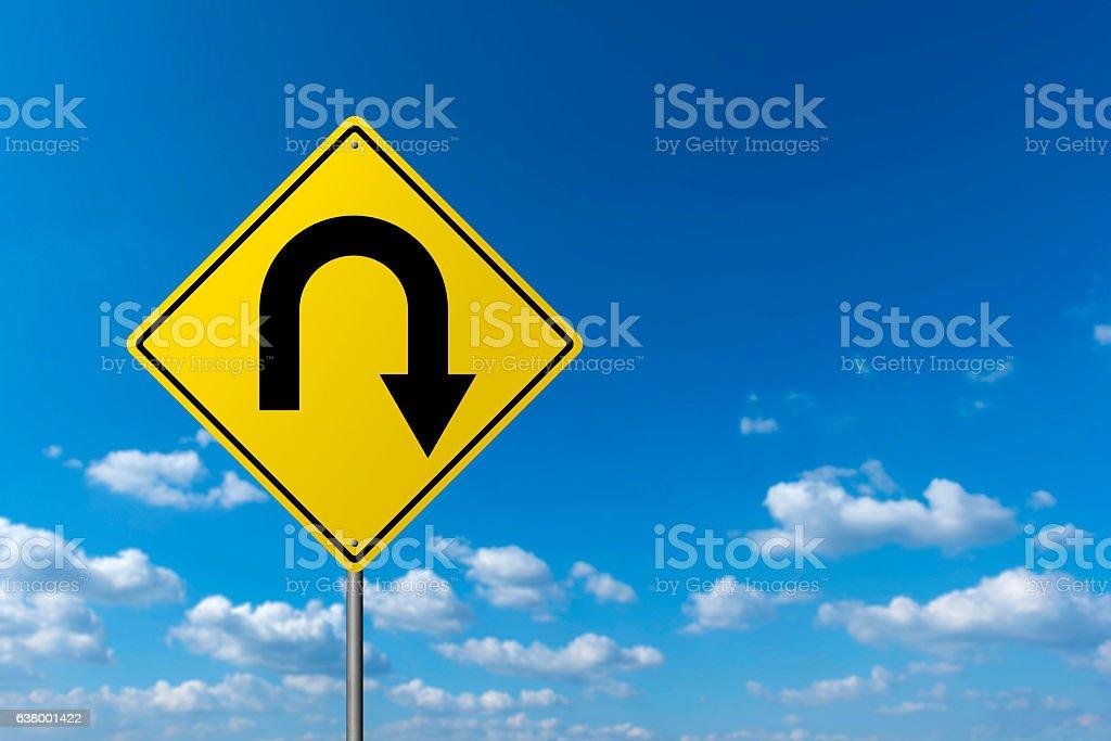 Traffic sign - U Turn stock photo