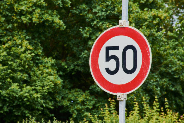 traffic sign with speed limit 50 stock photo