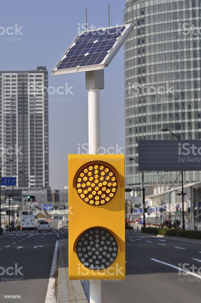 Traffic signal powered by solar power royalty-free stock photo