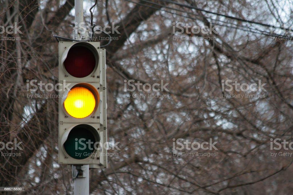 Traffic signal, yellow light stock photo