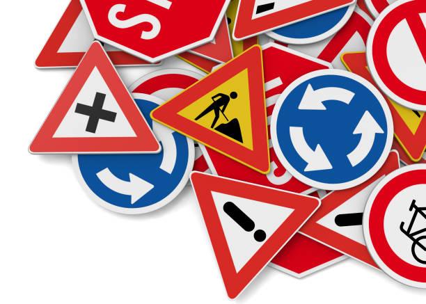 señales de tráfico - 3d - aprender a conducir fotografías e imágenes de stock