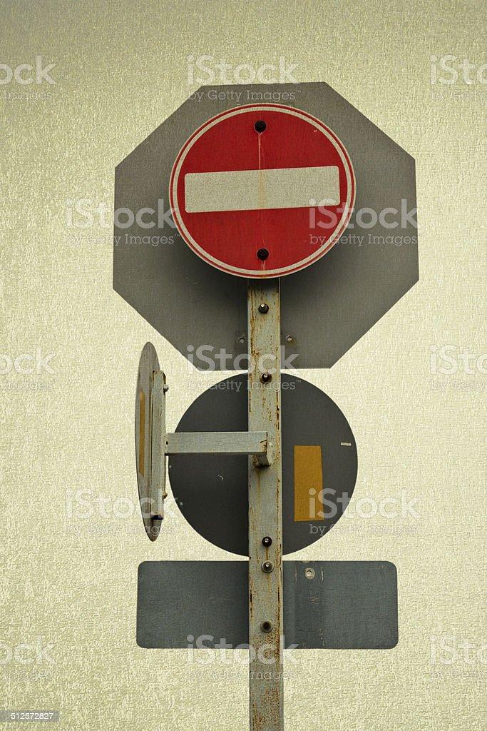 Traffic Signs Safety Transportation Vintage Background Stock Photo