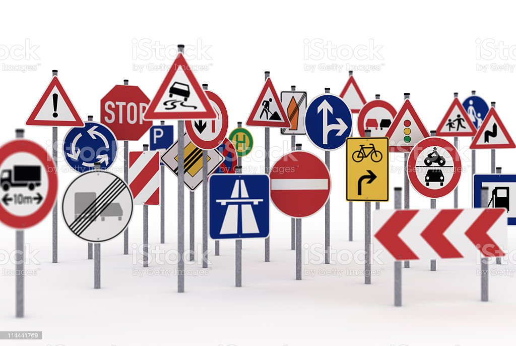 Traffic signs with selective focus stock photo