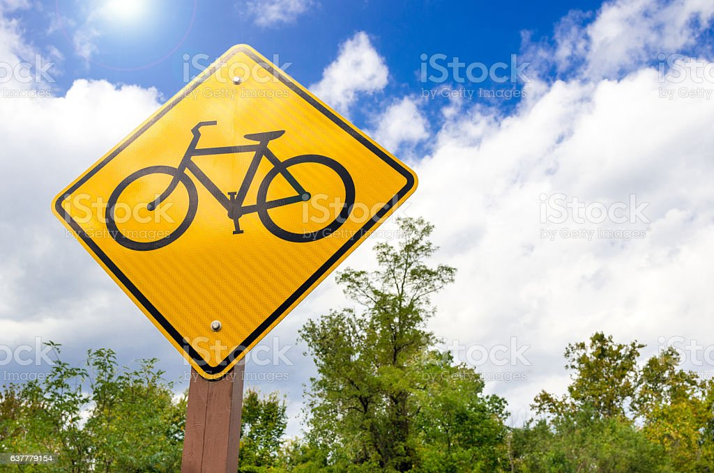 Traffic Sing Warning Against Bicycle on the Road stock photo