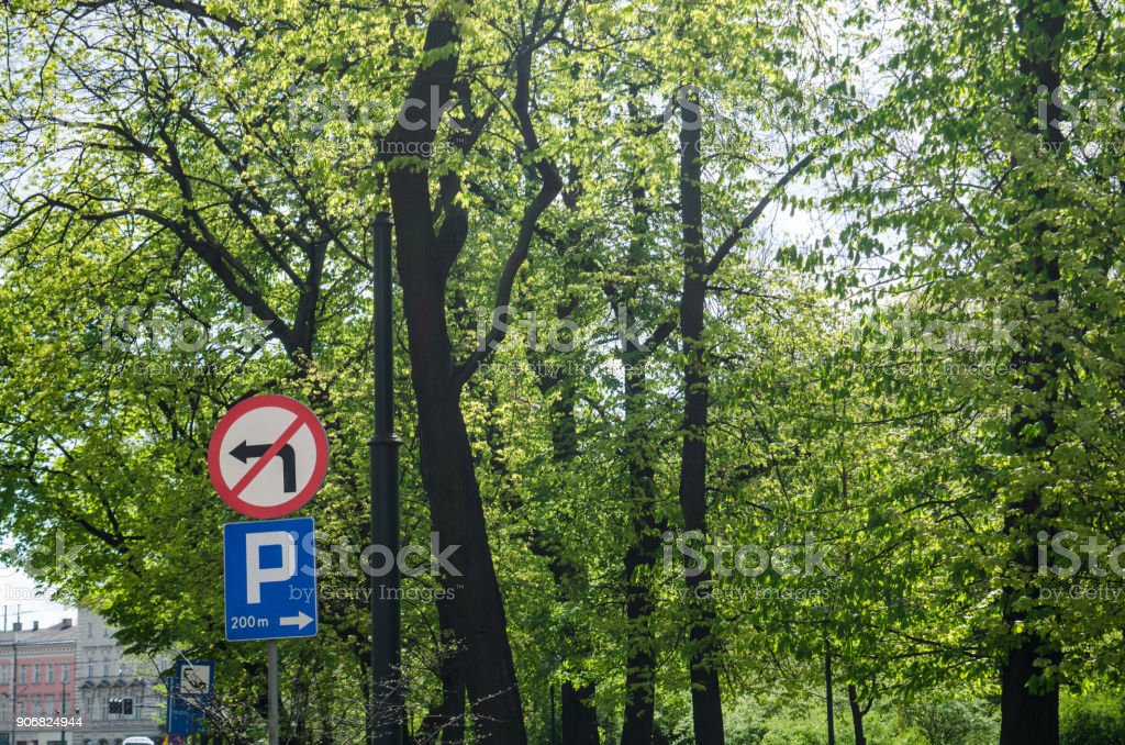 Traffic sings and trees stock photo