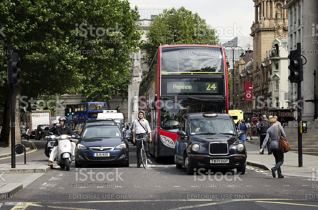 Traffic stopped at St Martin in the Fields royalty-free stock photo