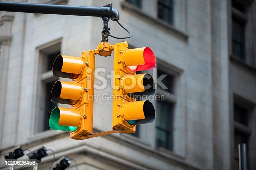 City traffic signal light at a downtown intersection
