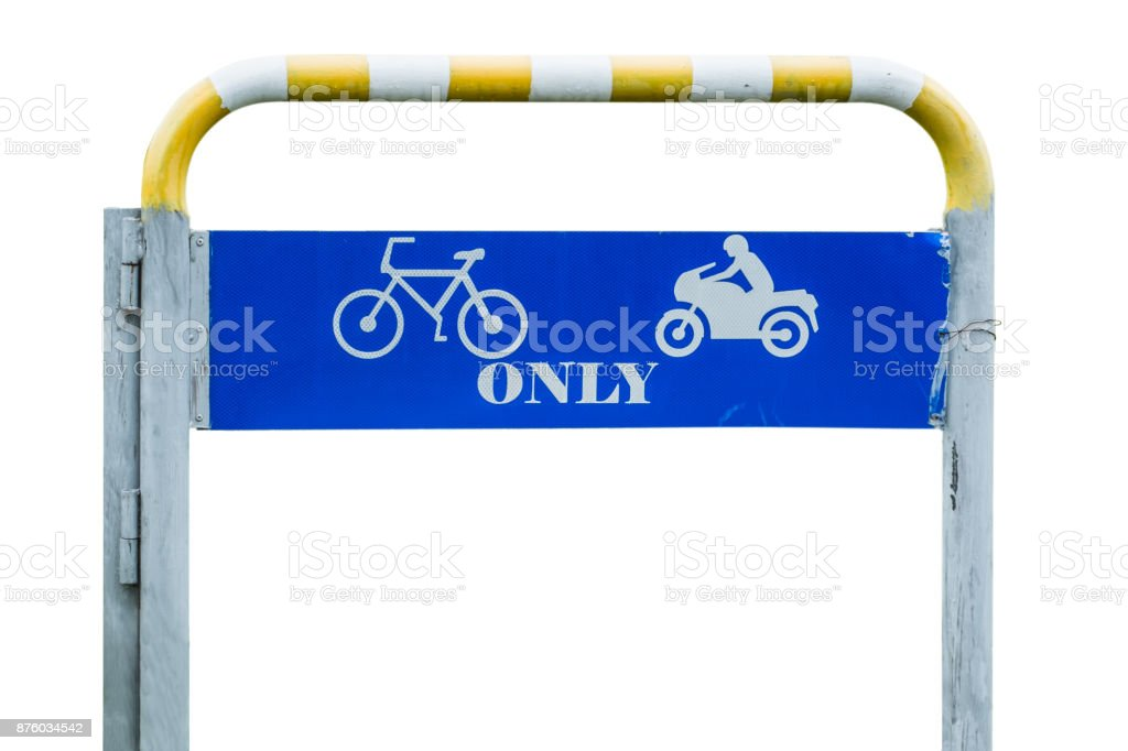 Traffic symbol means driving direction for bicycle and motorcycle only isolated on white background stock photo