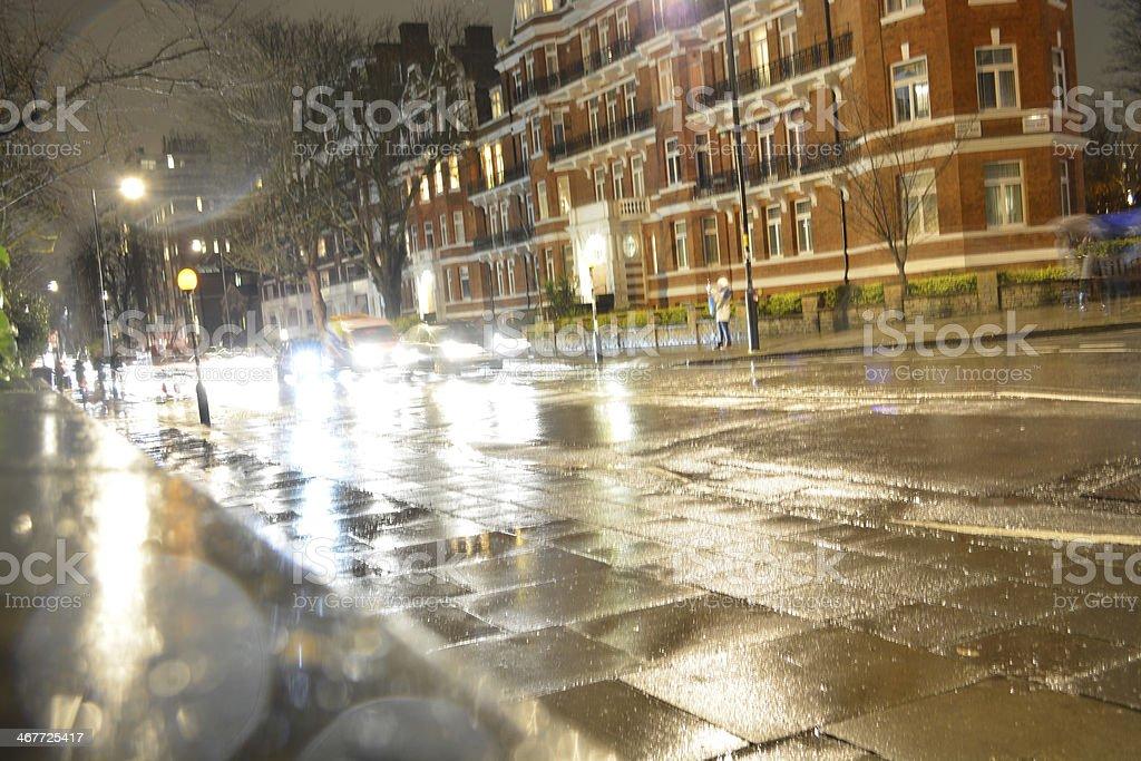 Traffic through Abbey Road stock photo