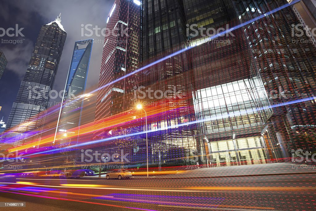 traffic through downtown royalty-free stock photo