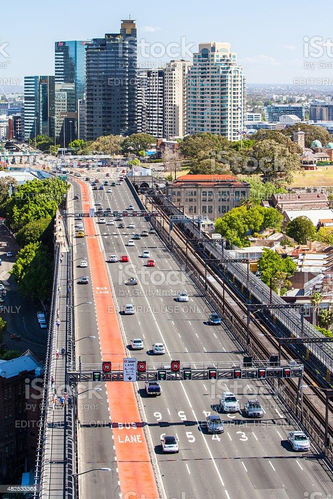 Traffic Towards Cahill Expressway stock photo