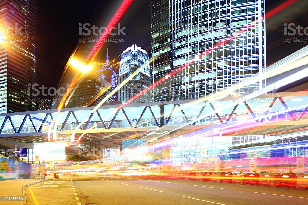 Traffic trails Hong Kong at night photo libre de droits