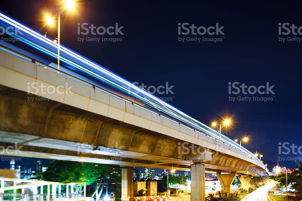 Traffic trails Hong Kong at night Lizenzfreies stock-foto