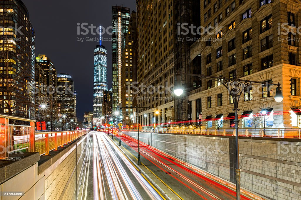Traffic trails in downtown New York City stock photo