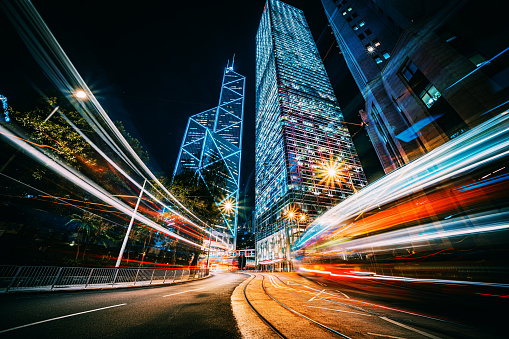 Traffic trails in Financial District, Hong Kong
