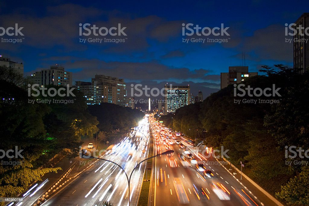 traffic trails stock photo
